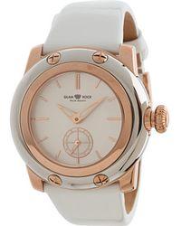 Glam Rock - 40mm Rose Gold Plated Watch Wtih White Technosilk Strap - Lyst