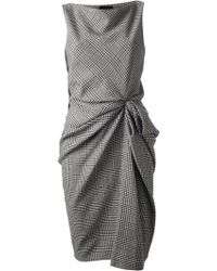 Lanvin Gathered Checked Dress - Lyst