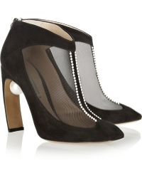 Nicholas Kirkwood Embellished Suede and Mesh Ankle Boots - Lyst