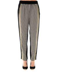 Ohne Titel - Grid-Print Silk Trousers - Lyst