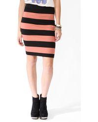 Forever 21 Striped Knee Length Skirt - Lyst