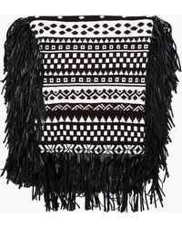 KTZ - Black and White Patterned Fringed Scarf - Lyst