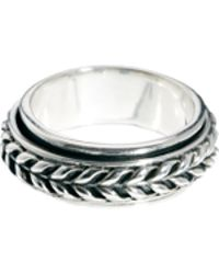 True Religion Seven London Sterling Silver Patterned Band Ring - Metallic