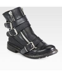 Burberry Hertford Leather Motorcycle Boots - Black