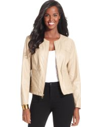 Jones New York | Fauxleather Quilted Zipup | Lyst