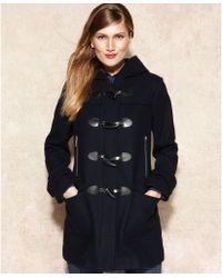 Michael Kors Hooded Toggle Front Duffle Coat - Blue