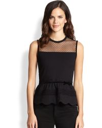 RED Valentino Scalloped Jersey Peplum Top - Lyst