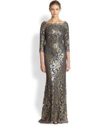 Tadashi Shoji Sequined Lace Gown - Lyst