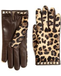Valentino Leopardprint Leather and Calf Hair Gloves - Lyst