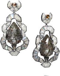 Nak Armstrong Rose Gold Tourmalated Quartz and Labradorite Earrings - Grey