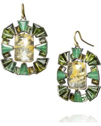 Nak Armstrong - Yellow Gold Rutilated Quartz and Emerald Earrings - Lyst