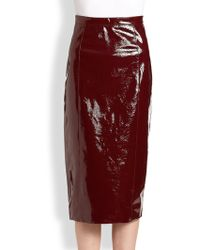 Burberry prorsum Patent Leather Skirt in Red | Lyst