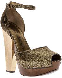Lanvin Peep Toe Sandal - Lyst