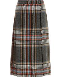 MSGM Plaid Pleated Kilt multicolor - Lyst