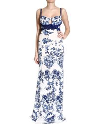 Roberto Cavalli Floral Print Gown white - Lyst