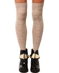 AKIRA Snowflake Knee High Socks  - Natural