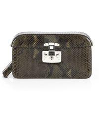 Gucci Lady Lock Python Clutch - Lyst