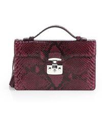 Gucci Lady Lock Python Briefcase Clutch - Lyst