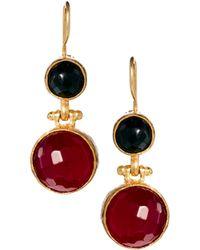 Asos Two Stone Drop Earrings - Lyst