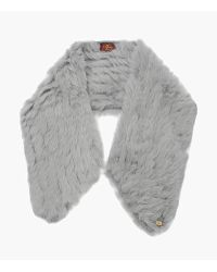 7 For All Mankind - Fur Neck Light Grey - Lyst