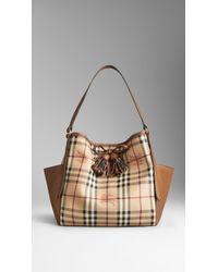 Burberry Small Haymarket Check Tassel Detail Tote Bag - Lyst