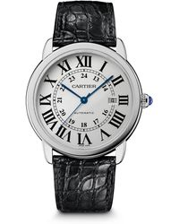 Cartier Ronde Solo Extra-Large Stainless Steel & Alligator Automatic Strap Watch - Lyst