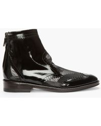 Christopher Kane Black Patent Leather Mesh_trimmed Brogue Ankle Boots - Lyst