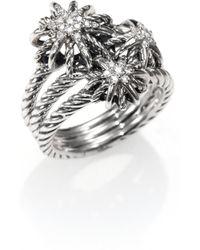 David Yurman Diamond Sterling Silver Starburst Ring - Lyst