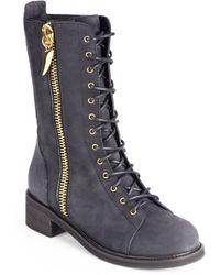 Giuseppe Zanotti Ziptrimmed Leather Laceup Combat Boots - Lyst