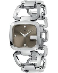 Gucci G Collection Stainless Steel and Diamond Watch Brown - Lyst