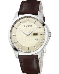 Gucci Ya126303 G-Timeless Collection Stainless Steel And Leather Watch - For Men - Lyst