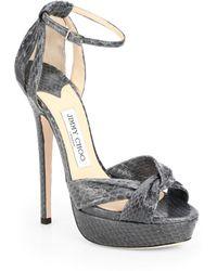 Jimmy Choo Greta Snakeskin Platform Sandals - Lyst