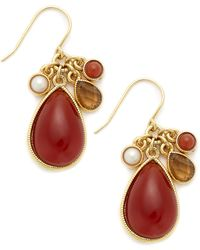 Lauren by Ralph Lauren - Goldtone Red Stone Cluster Drop Earrings - Lyst