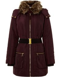 Linea Weekend - Puffer Coat with Faux Fur Collar and Hood - Lyst
