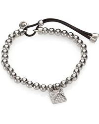 Michael Kors Beaded Pyramid Charm Stretch Bracelet Silvertone Lyst