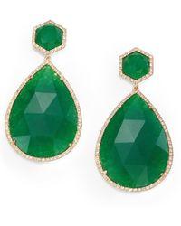 Mija Green Jade Pavé White Shire Teardrop Drop Earrings Lyst