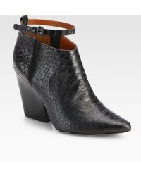 Rebecca Minkoff La Roux Snakeembossed Leather Ankle Boots - Black