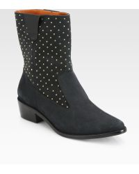 Rebecca Minkoff Sydnie Studded Suede Western Boots - Black