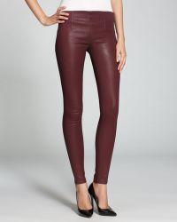 Sold Design Lab Quotation Jeans Burgundy Coated Side Zip Skinny - Purple