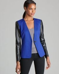 Vince Camuto Faux Leather Sleeve Blazer - Blue