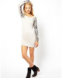Cheap Monday Asos Petite Leopard Sleeve Sweater Dress - Natural