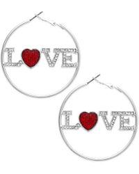 Material Girl - Silvertone Love Hoop Earrings - Lyst
