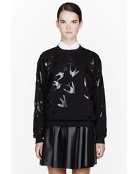 McQ by Alexander McQueen Black Lacquered Swallow Sweatshirt - Lyst