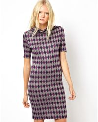 See By Chloé See By Chloe Day Dress in Geometric Print with Cowl Neck - Lyst