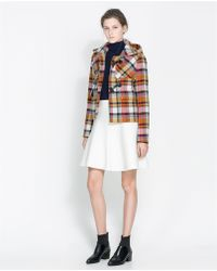 Zara Short Checked Duffle Coat - Lyst