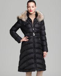 Dawn Levy Down Coat Addison Belted Fur Collar - Lyst