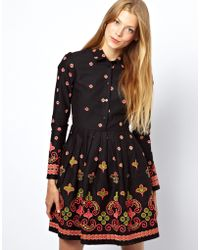 Asos Skater Dress with Floral Geo Embroidery - Lyst