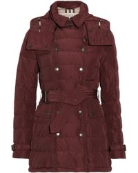 Burberry Brit - Hooded Quilted Down Coat - Lyst