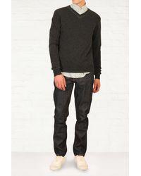 Comme Des Garçons Charcoal Contrast V Neck Sweater - Lyst