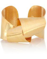 Herve Van Der Straeten - Hammered Gold Plated Cuff - Lyst